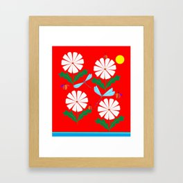 Summer Daisies, Dragonflies, Lady Bugs and the Sun Framed Art Print