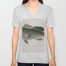 Sea Bass (Centropristes Striatus) illustrated by Sherman F Denton (1856-1937) from Game Birds and Fi Unisex V-Neck
