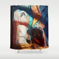 mother of dragons Shower Curtains featuring Dragons by youcoucou