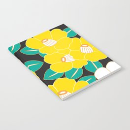 Japanese Style Camellia - Yellow and Black Notebook