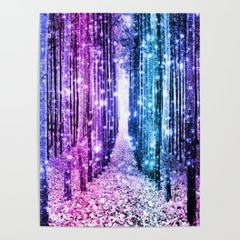 Magical Forest : Aqua Periwinkle Purple Pink Ombre Sparkle Poster