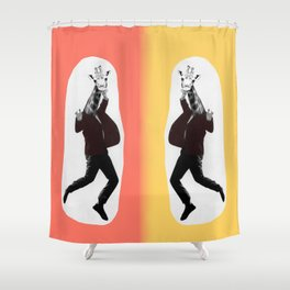Giraffe in a Suit by Debbie Porter Shower Curtain