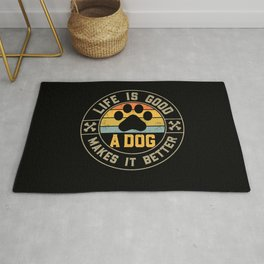 Life Is Good A Dog Makes It Better Saying Dog Owner Gift Rug