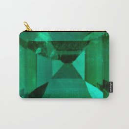 FACETED EMERALD GREEN MAY GEMSTONE Carry-All Pouch
