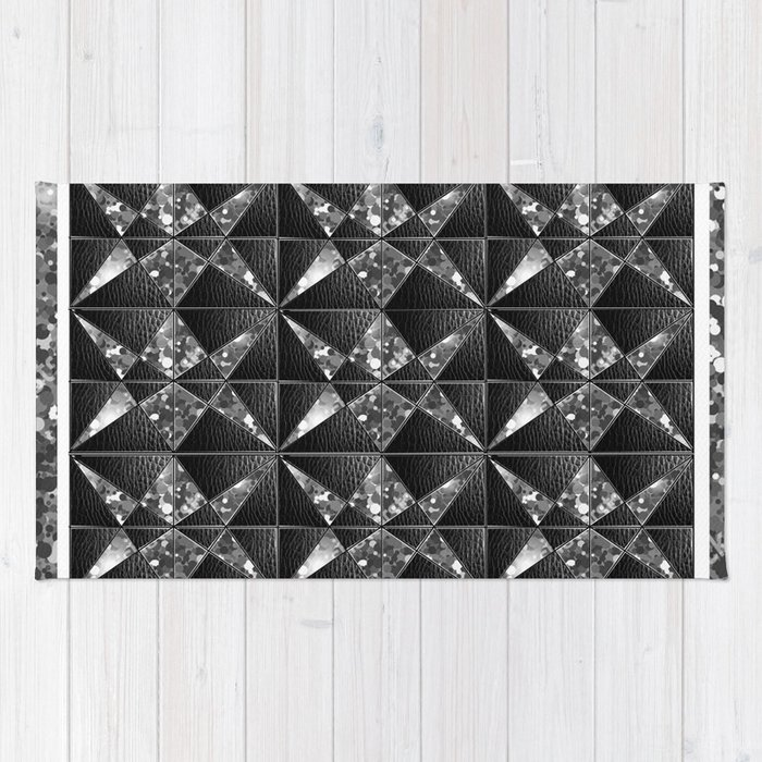 Black Leather And Silver Sparkle Graphic Textile Rug