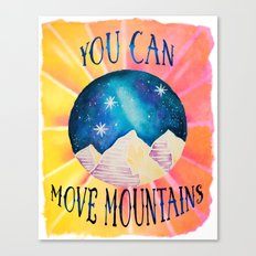 You Can Move Mountains - Galaxy Night Sky Motivational Watercolor Canvas Print