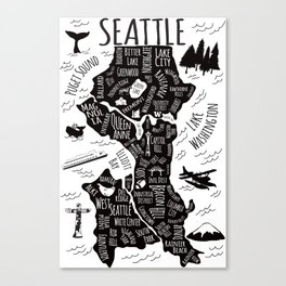 Seattle Illustrated Map in Black and White - Single Print Canvas Print