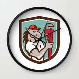 Horse Plumber  Monkey Wrench Crest Cartoon Wall Clock