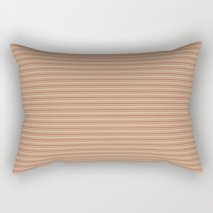 Sherwin Williams Cavern Clay Warm Terra Cotta SW 7701 Horizontal Line Patterns 2 on Ligonier Tan Rectangular Pillow