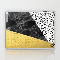 Mele - gold abstract painting art decor dorm college trendy hipster foil glitter black and white dot Laptop & iPad Skin
