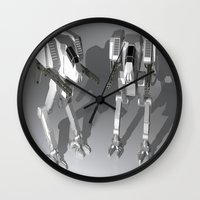 robots Wall Clocks featuring Robots by Carlo Toffolo