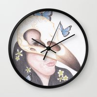 crow Wall Clocks featuring Crow by Drawings by LAM
