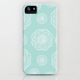 Mint Romantic Flower Mandala Pattern #2 #decor #art #society6 iPhone Case