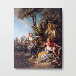 Lovers in a Park - Francois Boucher Metal Print
