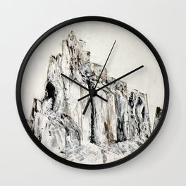 Abstract Landscape Painting Shiprock black white geometric Wall Clock