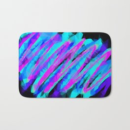psychedelic geometric polygon abstract in pink blue with black background Bath Mat