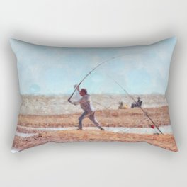 Beach Casting At Dungeness Rectangular Pillow
