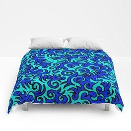 Blue Sqwiggle Comforters