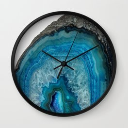 Blue agate, Marble, Faux Druse, Crystal, Quartz, Gem, Gemstone, Wall Clock