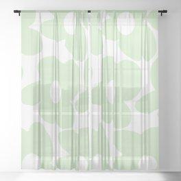 Large Baby Green Retro Flowers White Background #decor #society6 #buyart Sheer Curtain