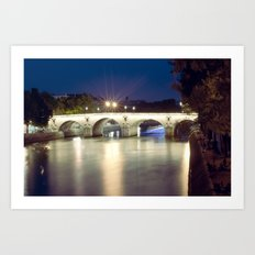 Bridges of Paris by Night Art Print