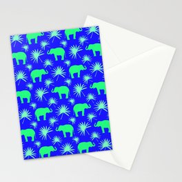 Wild African bright green little elephants, exotic tropical leaves whimsical cute blue pattern Stationery Cards