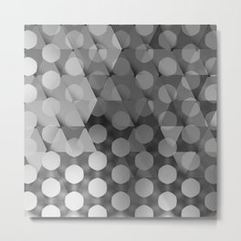 Circles on Triangles Shades of Gray Metal Print