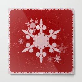 Snow Falls - Red Metal Print