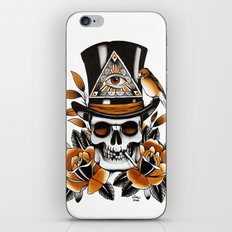 Smoking skull and roses iPhone & iPod Skin