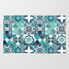Spanish moroccan tiles inspiration // turquoise green silver lines Rug