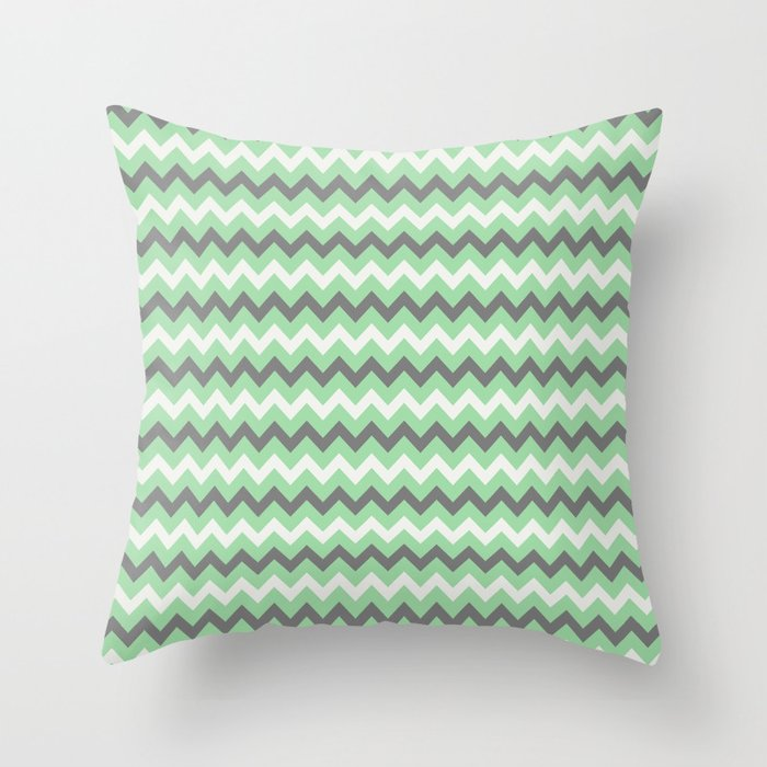 Pastel Mint Green, Gray & Linen White Chevron Line Pattern Pairs to 2020 Color of the Year Neo Mint Throw Pillow