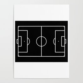 Soccer field / Football field in Black and White Poster