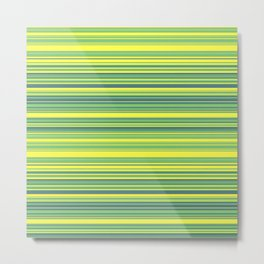 Yellow Lime Candy Lines Metal Print