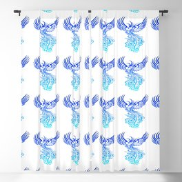 Rising From The Ashes Phoenix Blue Aqua Ombre Blackout Curtain