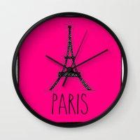 eiffel Wall Clocks featuring Eiffel by Vintage Fox