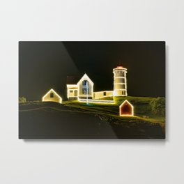 Christmas in July - Nubble Lighthouse, York, Maine Metal Print