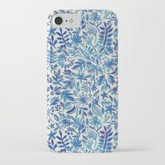 Floating Garden - a watercolor pattern in blue iPhone 7 Slim Case