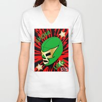 mucha V-neck T-shirts featuring Mucha Lucha by Los Espada Art