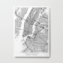 New York Map White Metal Print