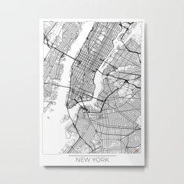 New York Map White Metal Print