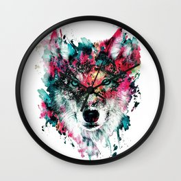 Wolf Face, Colorful Wolf Wall Clock