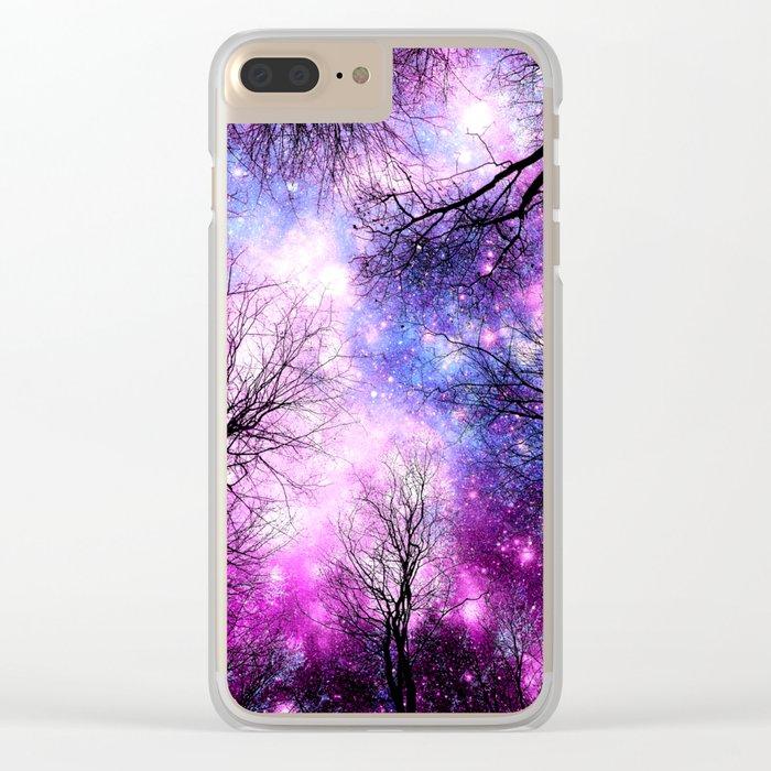 Black Trees Purple Fuchsia Blue Space Clear iPhone Case