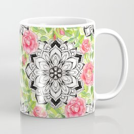 Peach Pink Roses and Mandalas on Lime Green and White Coffee Mug