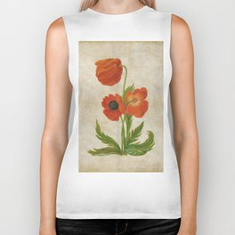 Vintage painting - Bunch of poppies Poppy Flower floral Biker Tank