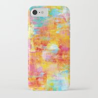 clueless iPhone & iPod Cases featuring OFF THE GRID Colorful Pastel Neon Abstract Watercolor Acrylic Textural Art Painting Nature Rainbow  by EbiEmporium
