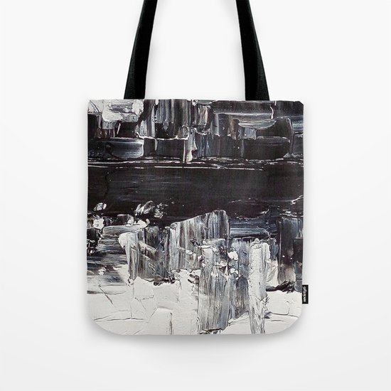 Flatline - black & white abstract painting Tote Bag
