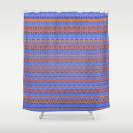 Blue and Orange Patterned Stripes Shower Curtain