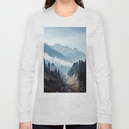 VALLEY - MOUNTAINS - TREES - RIVER - PHOTOGRAPHY - LANDSCAPE Long Sleeve T-shirt