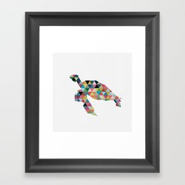 Colorful Geometric Turtle Framed Art Print