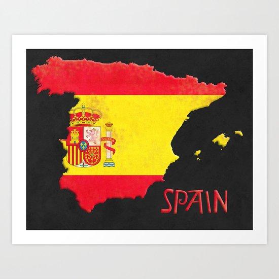 Spain Vintage Map Art Print